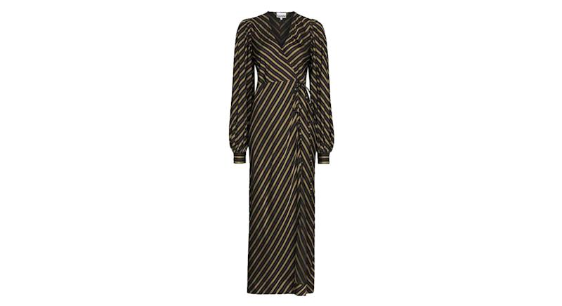 Ganni Maxi Wrap Dress Stripes