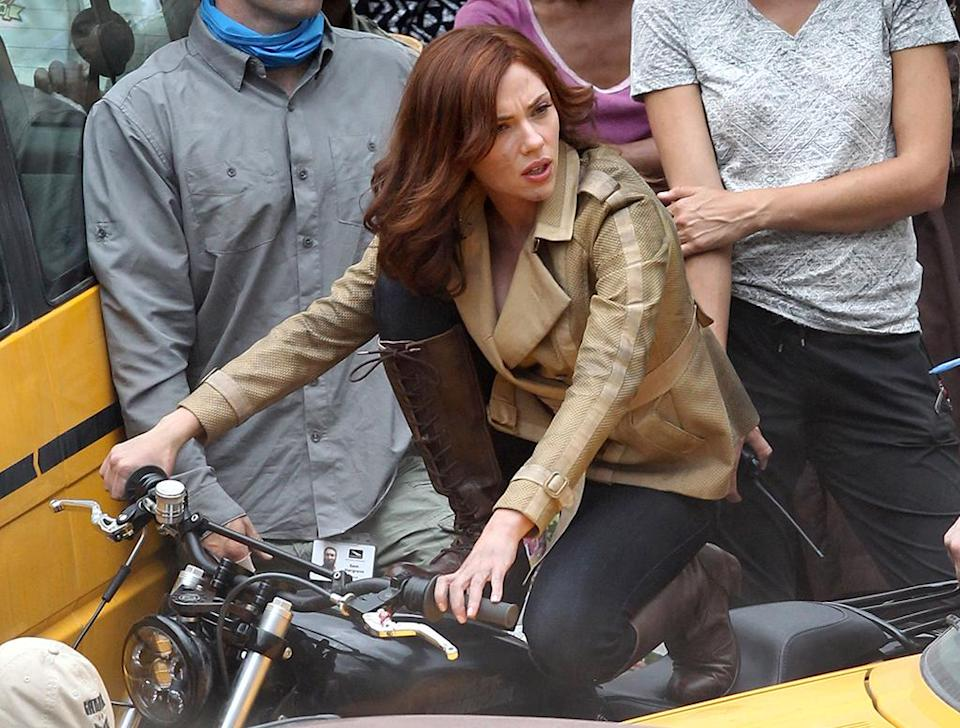 Scarlett Johansson doesn't need to be in her Black Widow getup to get in on the 'Civil War' action.