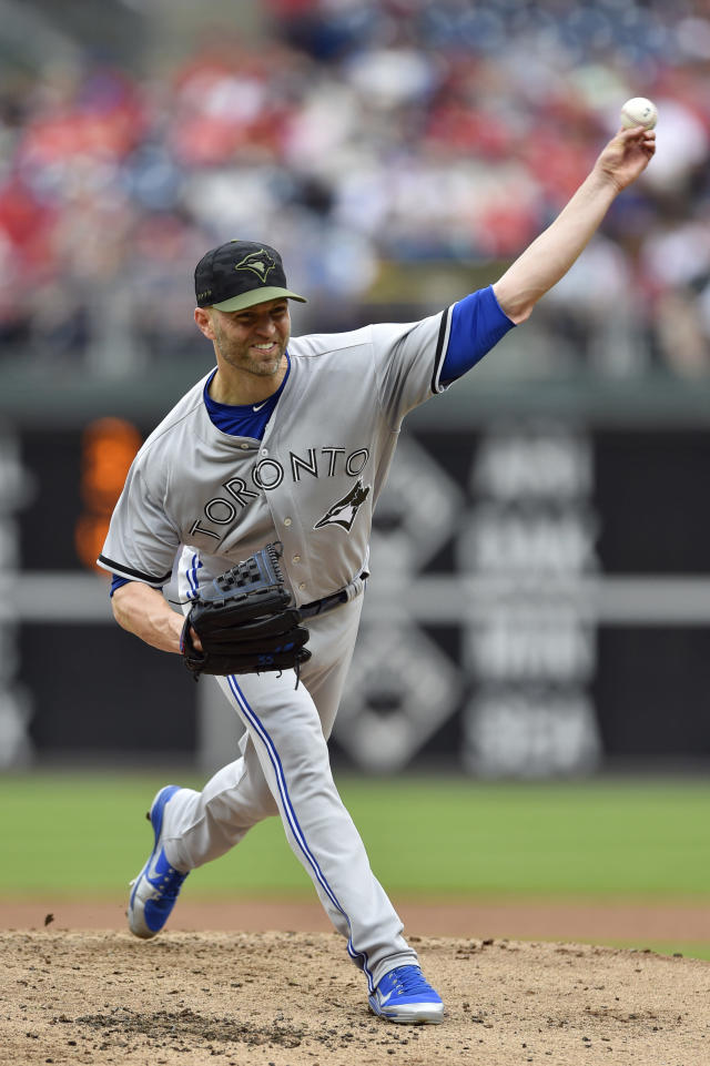 Toronto Blue Jays starting pitcher J.A. Happ throws during the second inning of a baseball game against the Philadelphia Phillies, Sunday, May 27, 2018, in Philadelphia. (AP Photo/Derik Hamilton)