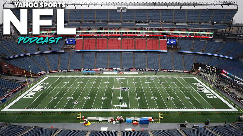 An empty Gillette Stadium in Foxboro, Massachusetts. Terez Paylor & Charles Robinson are pessimistic that fans will be in the stands this fall when the NFL season commences. (Photo by Omar Rawlings/Getty Images)