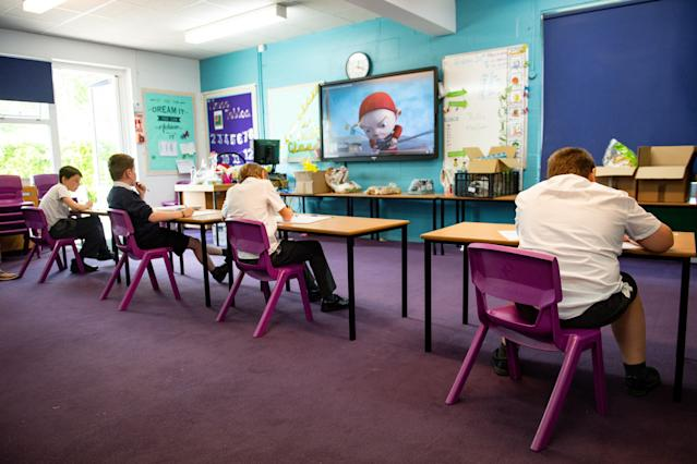 Children of essential workers socially distance at Kempsey Primary School in Worcester. (Getty)