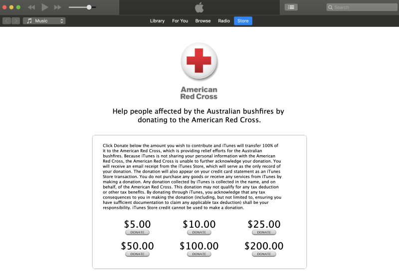 Apple is giving consumers the ability to donate to the Red Cross to help those impacted the Australian wildfires. (Image: Apple)