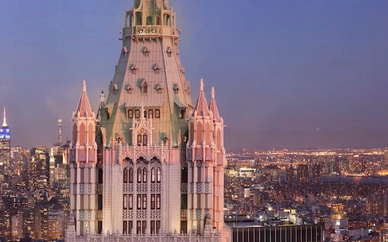 "A penthouse inside the celebrated Woolworth Building in New York has gone on sale with a record-breaking price tag, as developers tout the unique features of the historic landmark. The top floor flat went on the market on Wednesday for $110 million (£81.5m) – a sum which, if reached, would easily eclipse the current highest sale in Lower Manhattan. A penthouse in Manhattan's Chelsea neighbourhood sold for $50.9 million in 2014. The 9,710 sq foot apartment has 24-foot ceilings, a private lift and spans five floors. The interiors have been left ""raw"", meaning that the buyer can decide how many bedrooms and bathrooms they would like. The Woolworth Building, in Lower Manhattan Situated close to Wall Street and Ground Zero, the building sits on a site bought by discount shop tycoon Frank Winfield Woolworth. It has its own private air observatory, 727 feet above the city, and residents can access Woolworth's private swimming pool in the basement. ""This is as close to having a castle in New York City as you can get,"" said Ken Horn, the developer. The steel and terracotta structure, built in neo-Gothic style, is a national historic landmark, created by architect Cass Gilbert.  When it was completed in 1913, it was the world's tallest building - a title it held for 70 years. The apartment, with 125 windows, first went on the market in 2014, but no buyers emerged. Building amenities include a health club and spa with a pool, sauna and a hot tub, a wine cellar, a tasting room — and personal mail delivery. Steve Witkoff and Ruby Schron bought the building in 1998 for $146 million and still own its lower floors. ""This is one of the five most iconic buildings in the world,"" said Mr Horn.  ""One can always build new penthouses in glass skyscrapers, but it is impossible to replicate this anywhere.  ""No one builds terracotta anymore. It's too expensive. When you go up there, you feel like you are at the top of the world.  ""You are buying something that can never exist anywhere else in the world."" However, the asking price has been deemed somewhat steep. So far, only one other Manhattan apartment — in a midtown skyscraper known as One57, the ""billionaire's building"" — has sold for more than $100 million."