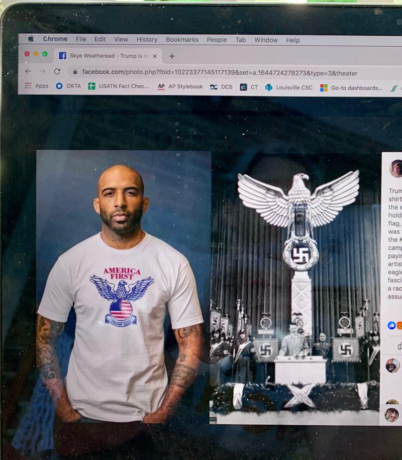 This image from Facebook shows a Trump campaign T-shirt next to an image from Nazi Germany.