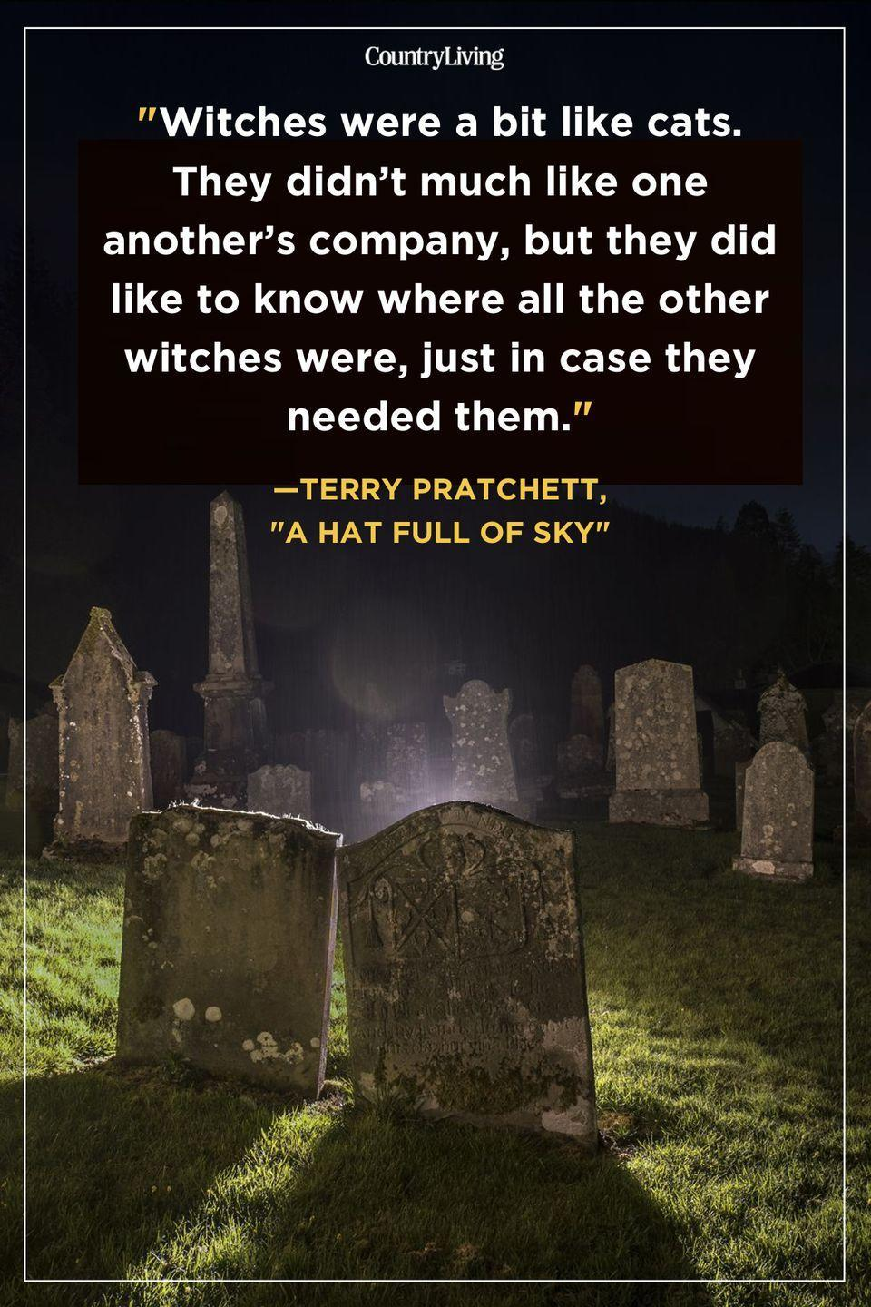 """<p>""""Witches were a bit like cats. They didn't much like one another's company, but they did like to know where all the other witches were, just in case they needed them."""" </p>"""