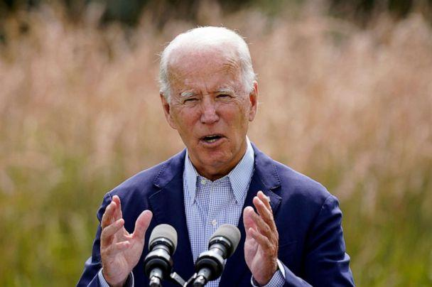 PHOTO: Democratic presidential candidate and former Vice President Joe Biden speaks about climate change and wildfires affecting western states, Sept. 14, 2020, in Wilmington, Del. (Patrick Semansky/AP)