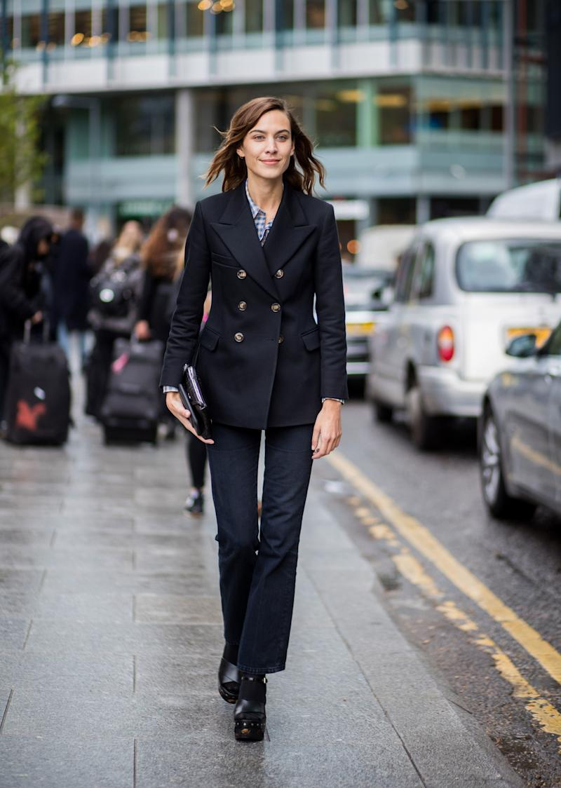 WHO: Alexa Chung WHAT: ALEXACHUNG jacket, AG jeans, Prada shoes WHERE: On the street, London WHEN: September 18, 2017