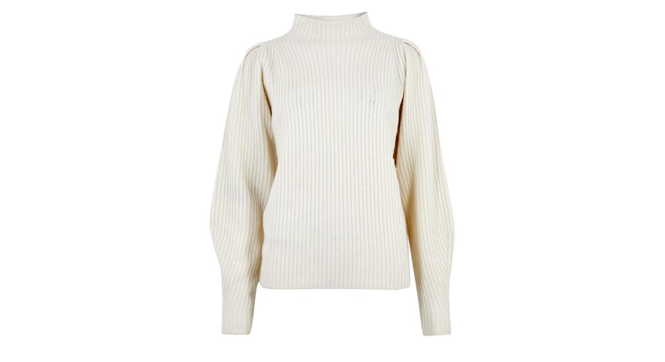 AUTOGRAPH Yak Wool Ribbed Puff Sleeve Jumper