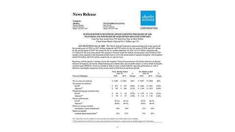 Schwab Reports Second Quarter Earnings Per Share of $.48, Including $.06 Per Share of Acquisition-related Expenses