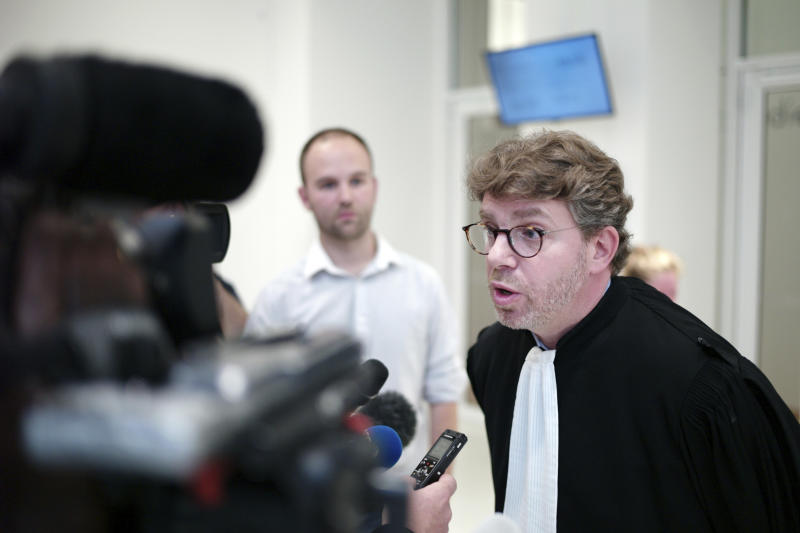 Lawyer of Saudi Princess Hassa bint Salman, Emmanuel Moyne, speaks to the press at the courthouse in Paris, Thursday, Sept. 12, 2019. The only daughter of Saudi Arabia's King Salman has been found guilty by a Paris court of charges that she ordered her bodyguard to detain and strike a plumber for taking photos at the Saudi royal family's apartment in the French capital. (AP Photo/Thibault Camus)