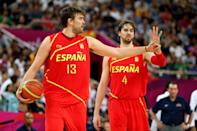 LONDON, ENGLAND - AUGUST 12: Marc Gasol #13 of Spain and Pau Gasol #4 of Spain communicate to their team mates during the Men's Basketball gold medal game between the United States and Spain on Day 16 of the London 2012 Olympics Games at North Greenwich Arena on August 12, 2012 in London, England. (Photo by Christian Petersen/Getty Images)