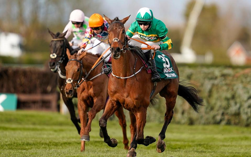 Rachael Blackmore riding Minella Times (R) clear the last to win The Randox Grand National Handicap Chase at Aintree Racecourse on April 10, 2021 in Liverpool, England - Getty Images