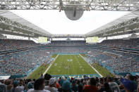 FILE - In this Sunday, Sept. 25, 2016 file photo, Hard Rock Stadium is seen during the second half of an NFL football game between the Miami Dolphins and the Cleveland Browns, in Miami Gardens, Fla. The Miami Dolphins NFL football team has decided to allow up to 13,000 socially distancing fans to attend their home opener against the Buffalo Bills on Sept 20, with the approval of state and local political leaders. (AP Photo/Lynne Sladky, File)