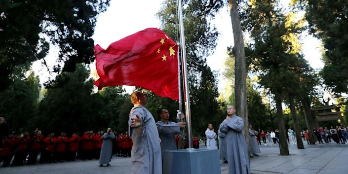 china shaolin temple flag raising