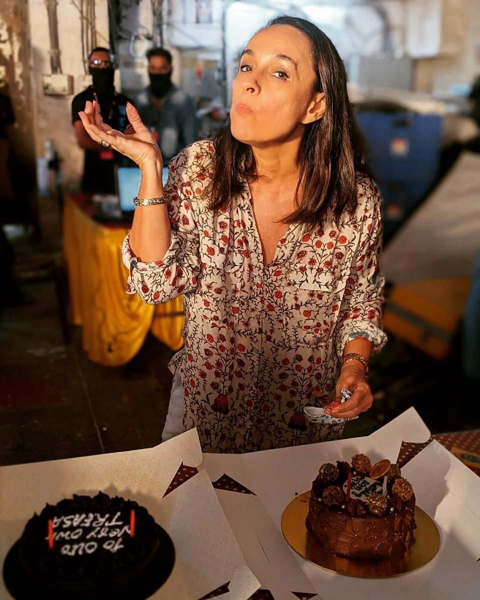 Soni Razdan rang in her birthday on the sets of a web series.