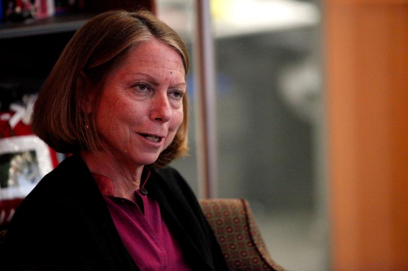 New York Times Executive Editor Jill Abramson speaks during an interview in New York September 21, 2011. New York Times Co warned its third-quarter advertising revenue would drop by a larger-than-expected 8 percent, hurt by a pullback in real estate, help wanted and national auto ads. Abramson, told Reuters in the interview she hoped the ad revenue drop would not lead to any more job cuts at the paper over the next year. REUTERS/Kena Betancur (UNITED STATES - Tags: MEDIA BUSINESS HEADSHOT EMPLOYMENT)