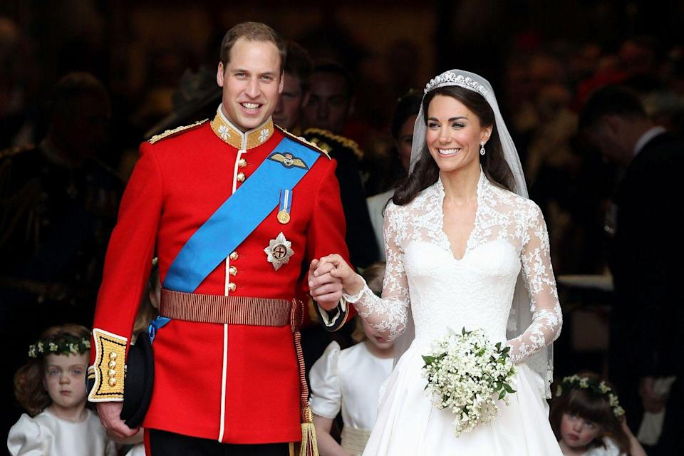 """<p>Prince William and Kate Middleton met at university in 2001. The pair sparked <a href=""""https://www.elle.com/culture/celebrities/a26067109/prince-william-kate-middleton-relationship-timeline/"""" rel=""""nofollow noopener"""" target=""""_blank"""" data-ylk=""""slk:many dating rumors"""" class=""""link rapid-noclick-resp"""">many dating rumors</a> throughout their tenure there, but it became evident they were a couple when attending a <a href=""""https://www.telegraph.co.uk/news/uknews/1517697/Out-of-the-shadows-Its-a-church-wedding-at-last-for-Kate-and-William.html"""" rel=""""nofollow noopener"""" target=""""_blank"""" data-ylk=""""slk:family wedding in 2006"""" class=""""link rapid-noclick-resp"""">family wedding in 2006</a>. In spring 2007, the pair took a two-month break, which Kate says was <a href=""""https://youtu.be/NK3ODM5S0Lg"""" rel=""""nofollow noopener"""" target=""""_blank"""" data-ylk=""""slk:good for their relationship"""" class=""""link rapid-noclick-resp"""">good for their relationship</a>. Prince William proposed with <a href=""""https://www.elle.com/culture/celebrities/a25455806/why-prince-harry-gave-up-princess-diana-engagement-ring/"""" rel=""""nofollow noopener"""" target=""""_blank"""" data-ylk=""""slk:Princess Diana's sapphire engagement ring"""" class=""""link rapid-noclick-resp"""">Princess Diana's sapphire engagement ring</a> in October 2010. Then on April 29, 2011, <a href=""""https://metro.co.uk/2011/05/09/royal-wedding-live-youtube-stream-watched-by-72million-people-4558/"""" rel=""""nofollow noopener"""" target=""""_blank"""" data-ylk=""""slk:72 million people worldwide"""" class=""""link rapid-noclick-resp"""">72 million people worldwide</a> watched the royal wedding that took place in Westminster Abbey. The pair has three children.</p>"""