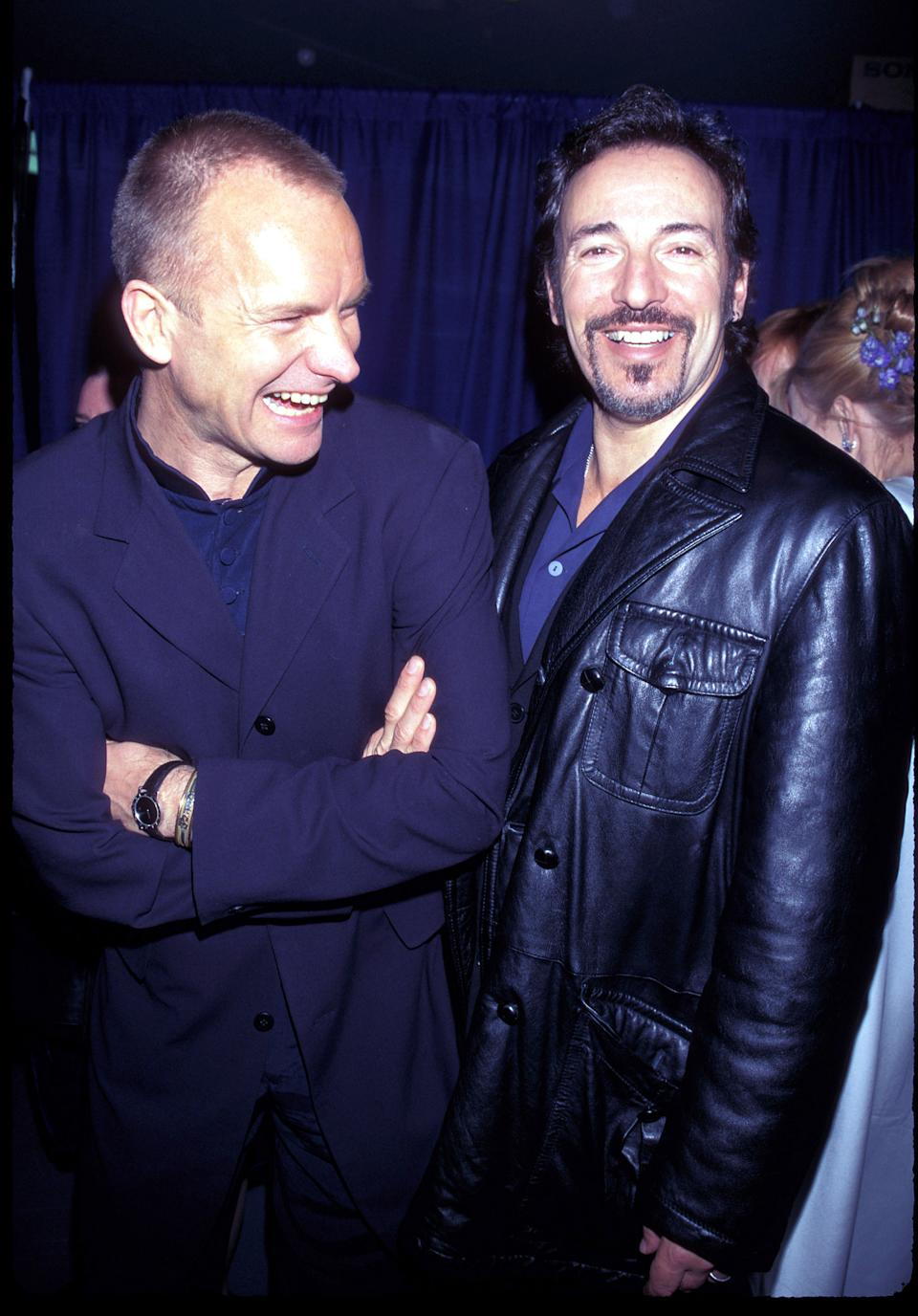Sting and Bruce Springsteen at The 39th Annual Grammy Awards, 1997 (Photo by KMazur/WireImage)