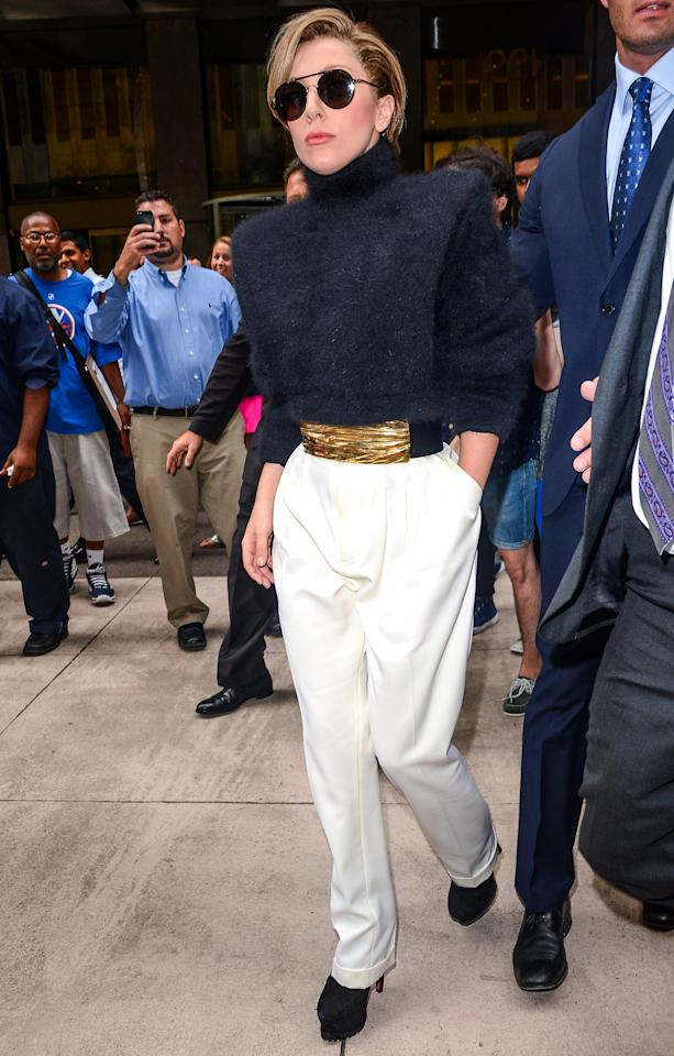 <b>Who:</b> Lady Gaga<br /><br /><b>Wearing:</b> Emma Thompson's haircut, a dead Muppet as a sweater<br /><br /><b>Where:</b> Leaving the Sirius XM studios in NYC
