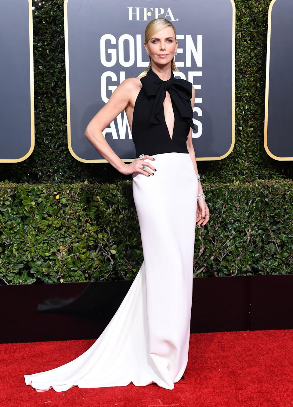 <p>Wearing a Dior Haute Couture dress with Bulgari jewels.</p>