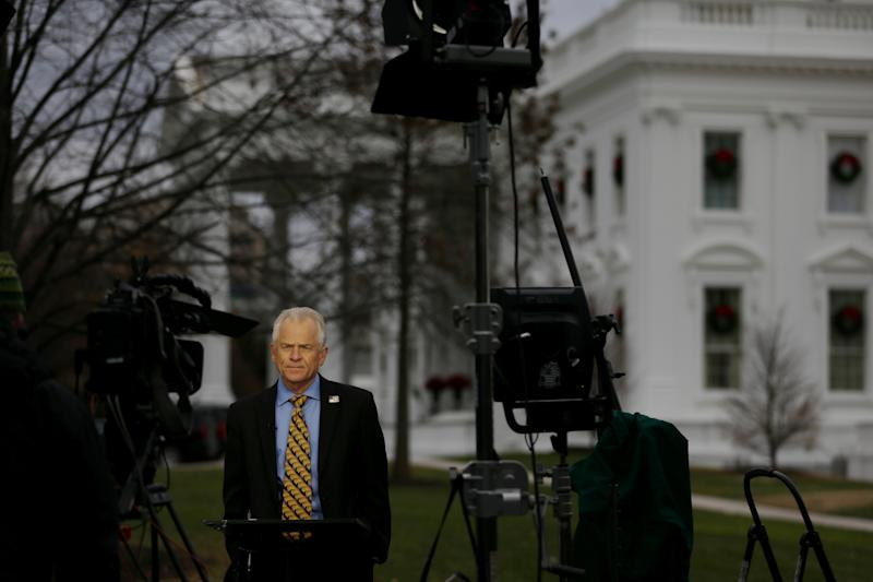 White House trade adviser Peter Navarro gives an interview with Fox News as U.S. stocks plummet, outside of the White House in Washington, U.S. December 4, 2018. REUTERS/Leah Millis