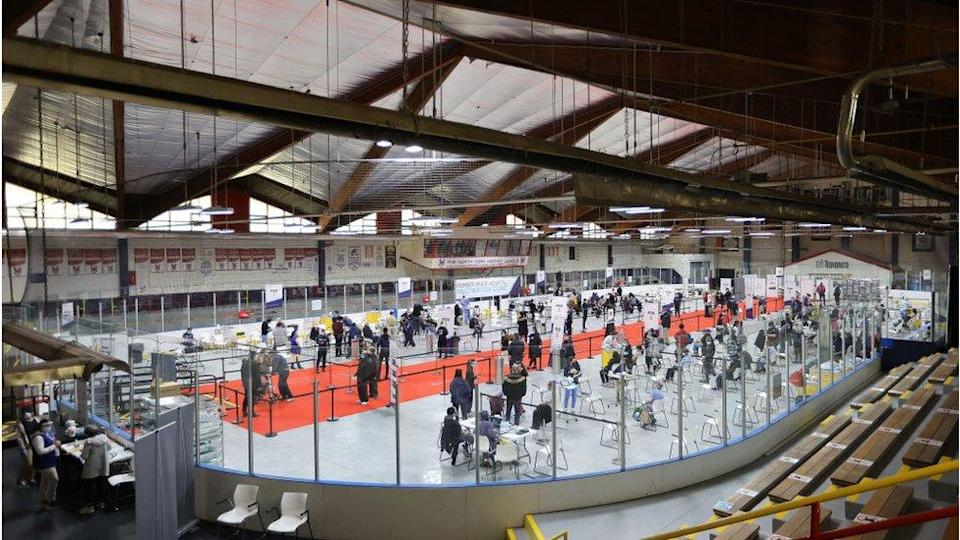 Vaccine is being administered at the Downsview hockey arena in Toronto