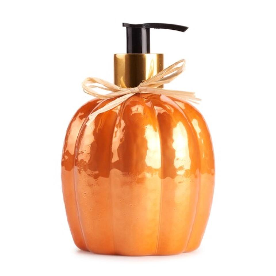 pumpkin shaped soap dispenser, fall decorating tips