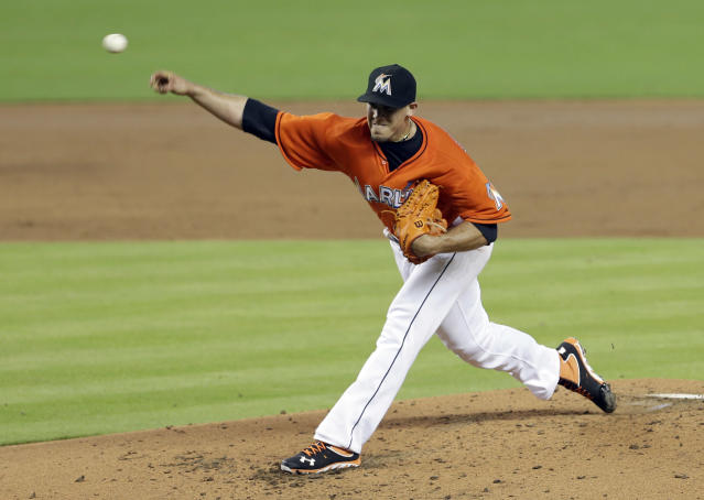 Miami Marlins' Jose Fernandez pitches against the Pittsburgh Pirates during the third inning of the MLB National League baseball game in Miami, Sunday, July 28, 2013. (AP Photo/Alan Diaz)