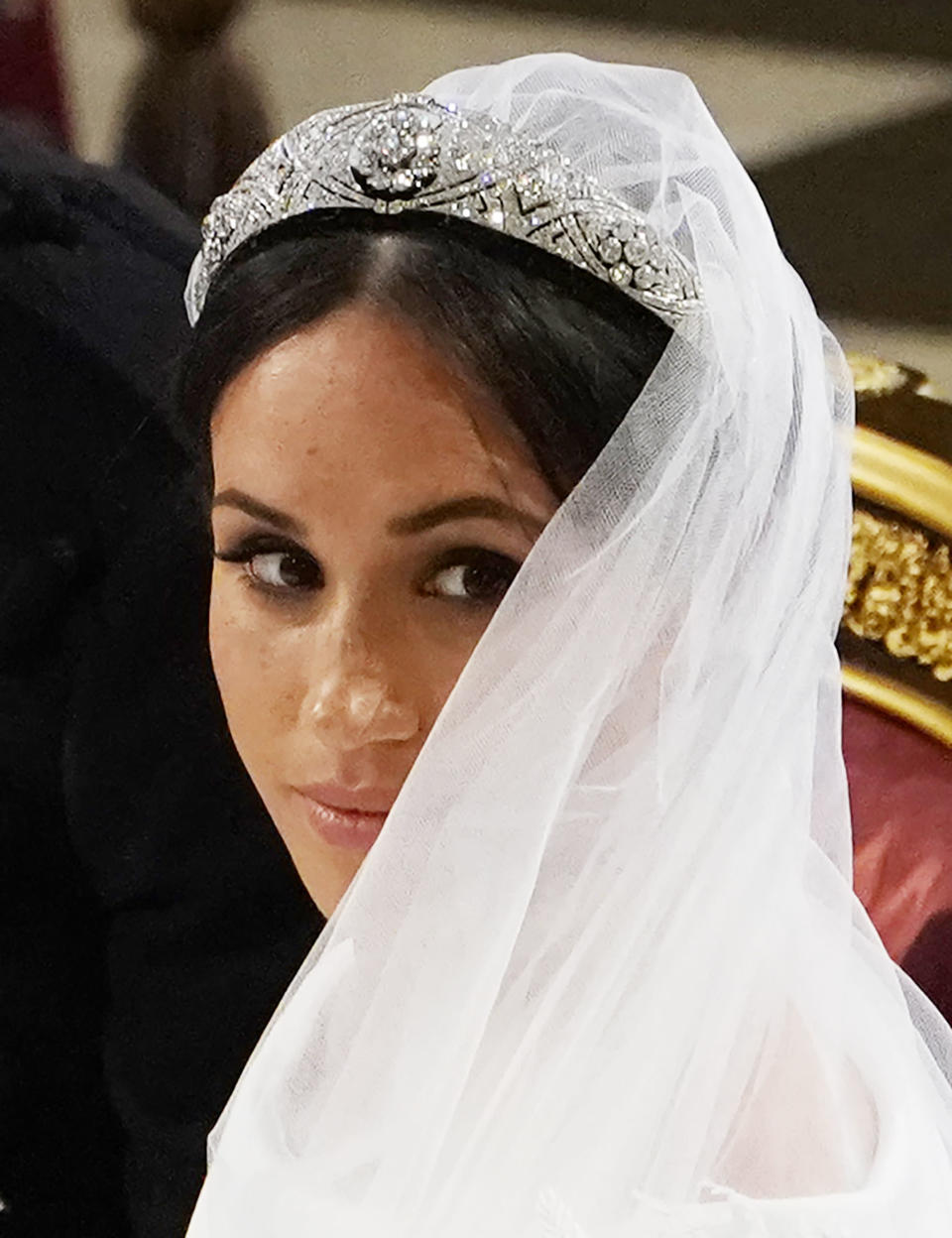<p>Meghan looked breathtaking in her Givenchy gown and shoes. (Getty) </p>