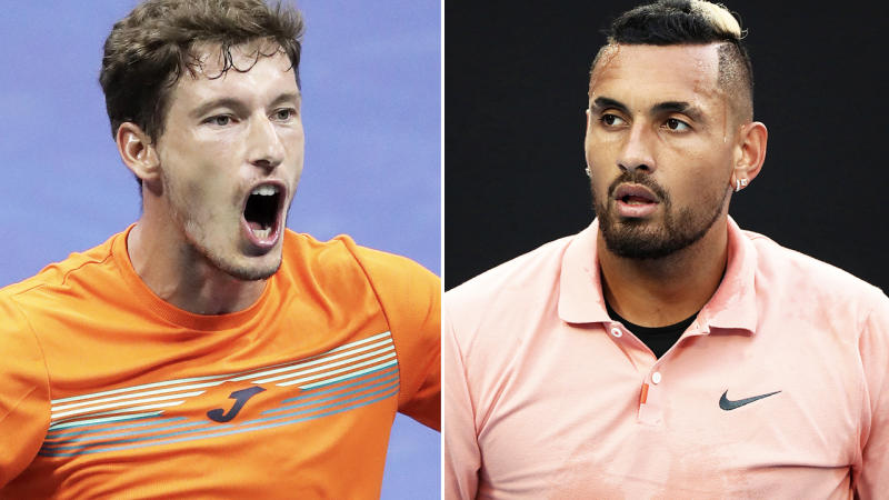 Pablo Carreno Busta and Nick Kyrgios, pictured here in action on the tennis court.