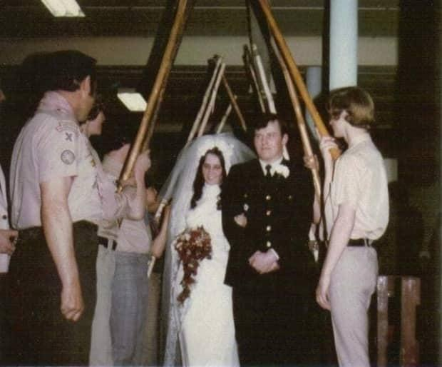 Arden and Debby White are pictured on their wedding day on April 6, 1974. The couple planned to renew their vows three times, but life just kept getting in the way.