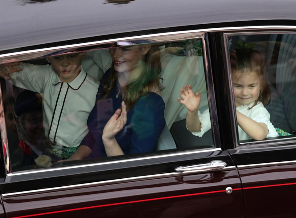 Princess Charlotte waved to the crowds. (Photo: Aaron Chown/WPA Pool/Getty Images)