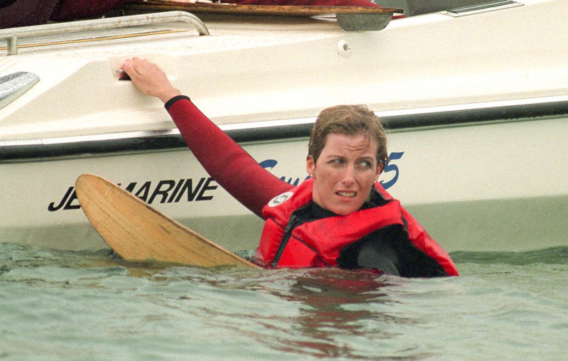 COWES,ENGLAND - JULY 1: Sophie Rhys-Jones waterskiing in Cowes, Isle of Wight , on July 1, 1994 in Cowes,England. (Photo by Julian Parker/UK Press via Getty Images)