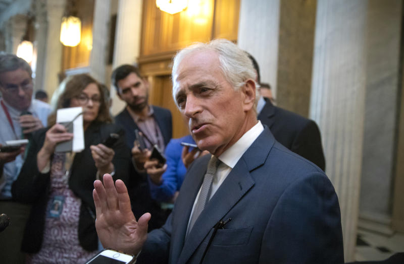 Senate Foreign Relations Committee Bob Corker, R-Tenn., responds to questions about the decline of civility in Congress, at the Capitol in Washington, Wednesday, Oct. 3, 2018. (AP Photo/J. Scott Applewhite)