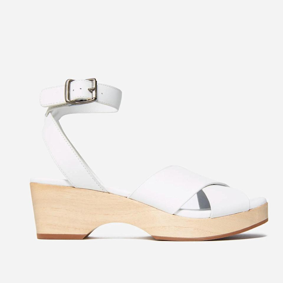 """Going to a wedding that takes place by the beach or on a boat? If so, these Everlane wedge sandals are a must. Best of all, they come in three colors. $110, Everlane. <a href=""""https://www.everlane.com/products/womens-clog-sandal-white?"""" rel=""""nofollow noopener"""" target=""""_blank"""" data-ylk=""""slk:Get it now!"""" class=""""link rapid-noclick-resp"""">Get it now!</a>"""