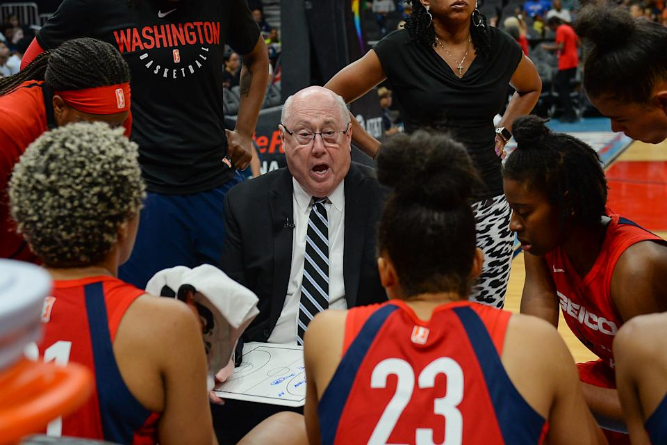 ATLANTA, GA  JUNE 23: Washington Mystics head coach Mike Thibault talks with his team in a time-out during the WNBA game between the Atlanta Dream and the Washington Mystics on June 23rd, 2019 at State Farm Arena in Atlanta, GA. (Photo by Rich von Biberstein/Icon Sportswire via Getty Images)