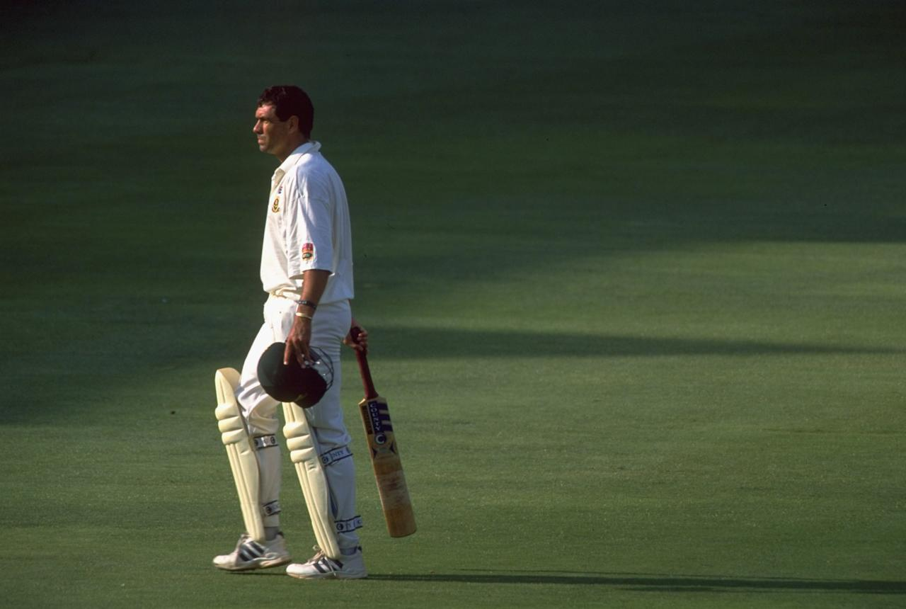 26 Nov 1999:  Hansie Cronje of South Africa is out for 44 during the First Test against England at the New Wanderers Stadium in Johannesburg, South Africa. \ Mandatory Credit: Stu Forster /Allsport