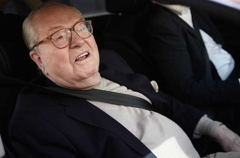 France's far-right party Front National (FN) honorary president Jean-Marie Le Pen arrives at the party's headquarters in Nanterre, near Paris, on May 4, 2015 (AFP Photo/Stephane de Sakutin)