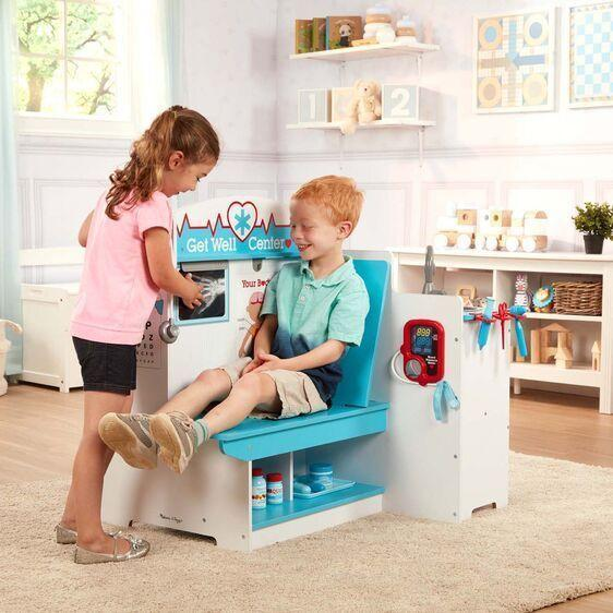 """<p><strong>Melissa & Doug</strong></p><p>amazon.com</p><p><strong>$171.99</strong></p><p><a href=""""https://www.amazon.com/dp/B07TYQZPNP?tag=syn-yahoo-20&ascsubtag=%5Bartid%7C10055.g.29352000%5Bsrc%7Cyahoo-us"""" rel=""""nofollow noopener"""" target=""""_blank"""" data-ylk=""""slk:Shop Now"""" class=""""link rapid-noclick-resp"""">Shop Now</a></p><p>Have her explore the world of doctors and patient care with this multi-sided doctor's office set. She can <strong>pretend to take blood pressure, measure weight and height, play with the eye chart</strong> and role play as doctor, receptionist or patient. This set is definitely more fun when played with two or more! <em>Ages 3+</em></p>"""
