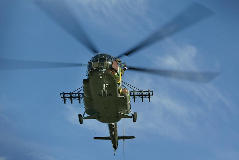 An Mi-8 helicopter generally carries between three and five crew members