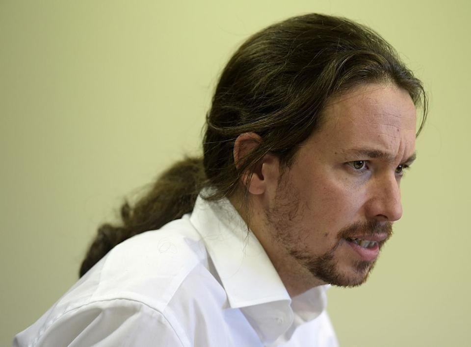 Pablo Iglesias during a conference in Madrid in January 2015. (Photo: AFP via AFP via Getty Images)