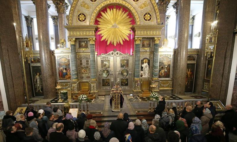A liturgy in Kazan cathedral, St Petersburg