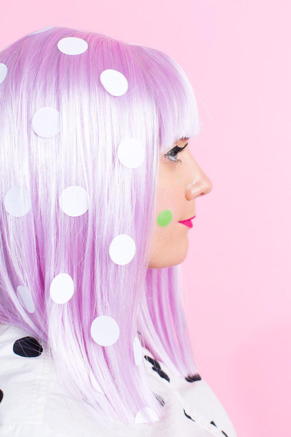 """<p>Fun wig? Check. Dots? Check. Sugar & Cloth has the perfect recipe for a truly dotty getup that takes very little time to put together (and won't leave you running around in circles at the last minute). </p><p><em><a href=""""https://sugarandcloth.com/winks-wigs-diy-wig-and-lash-combinations-for-halloween/"""" rel=""""nofollow noopener"""" target=""""_blank"""" data-ylk=""""slk:Get the tutorial from Sugar & Cloth »"""" class=""""link rapid-noclick-resp"""">Get the tutorial from Sugar & Cloth »</a> </em></p>"""