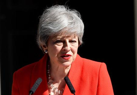 British Prime Minister Theresa May delivers a statement in London