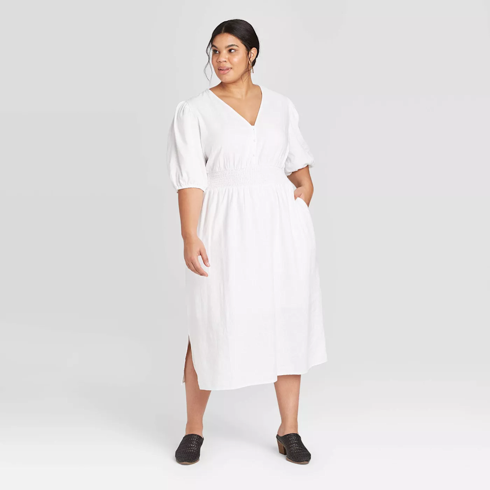 """<br> <br> <strong>Universal Thread</strong> Plus Size Elbow Sleeve Dress, $, available at <a href=""""https://go.skimresources.com/?id=30283X879131&url=https%3A%2F%2Fwww.target.com%2Fp%2Fwomen-s-plus-size-elbow-sleeve-dress-universal-thread-white%2F-%2FA-79138134%3Fpreselect%3D78373799%23lnk%3Dsametab"""" rel=""""nofollow noopener"""" target=""""_blank"""" data-ylk=""""slk:Target"""" class=""""link rapid-noclick-resp"""">Target</a>"""