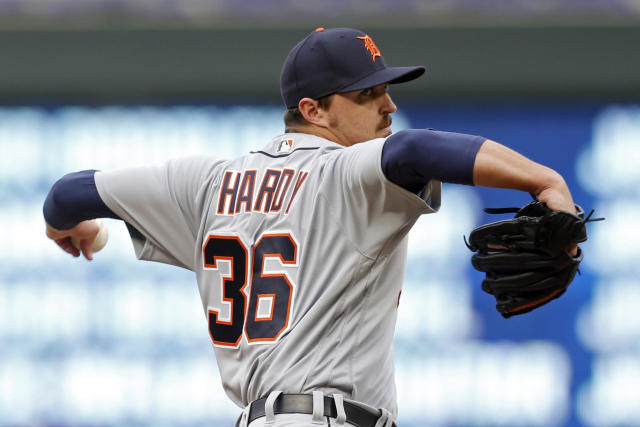 Detroit Tigers pitcher Blaine Hardy throws against the Minnesota Twins in the first inning of a baseball game Monday, May 21, 2018, in Minneapolis. (AP Photo/Jim Mone)
