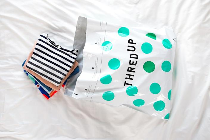 """<h2>Clean Out Your Closet </h2><br>Before cleaning your closet, consider cleaning it <em>out</em> first and donating or re-selling all the clothes you don't wear anymore. ThreadUp's <a href=""""https://www.thredup.com/cleanout"""" rel=""""nofollow noopener"""" target=""""_blank"""" data-ylk=""""slk:Clean Out Kit"""" class=""""link rapid-noclick-resp"""">Clean Out Kit</a> is a real pal of a system that takes the pain out of hauling clothing to your local thrift store by doing the work for you. In just three simple steps, you can declutter your closet and possibly get paid. <br><br>Or, you can donate clothes by mail if you're unable to get to an in-store donation center right now. <a href=""""https://wearpact.com/campaign/givebackbox"""" rel=""""nofollow noopener"""" target=""""_blank"""" data-ylk=""""slk:Pact"""" class=""""link rapid-noclick-resp"""">Pact</a> partners with five local charities that accept clean, gently used goods and Pact will cover the shipping for you. Visit their <a href=""""https://wearpact.com/campaign/givebackbox"""" rel=""""nofollow noopener"""" target=""""_blank"""" data-ylk=""""slk:Give Back Box donation page"""" class=""""link rapid-noclick-resp"""">Give Back Box donation page</a> for more details.<br>"""