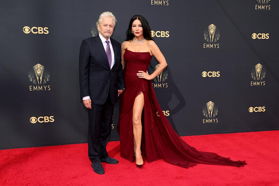 LOS ANGELES, CALIFORNIA - SEPTEMBER 19: (L-R) Michael Douglas and Catherine Zeta-Jones attend the 73rd Primetime Emmy Awards at L.A. LIVE on September 19, 2021 in Los Angeles, California. (Photo by Rich Fury/Getty Images)
