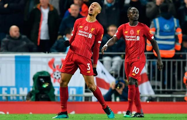 Fabinho marcou o primeiro gol do Liverpool neste domingo (Foto: PAUL ELLIS/AFP)