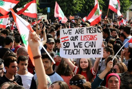 Students and schoolchildren have joined the mass protests in Lebanese cities demanding better public education and more job opportunities for school leavers